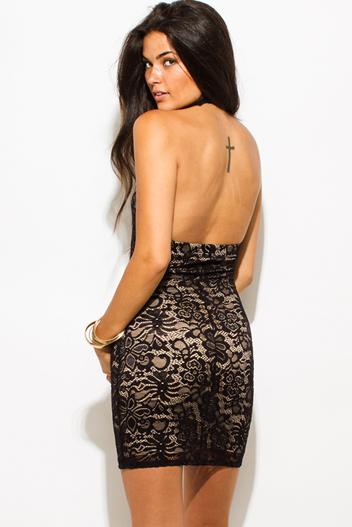 Cute cheap black sheer lace overlay high halter neck backless bodycon fitted mini club dress
