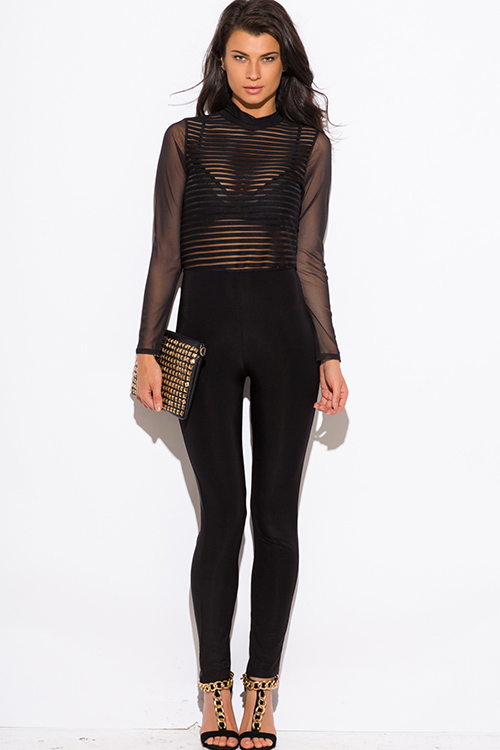 Cute cheap black sheer mesh long sleeve high neck fitted backless clubbing catsuit jumpsuit