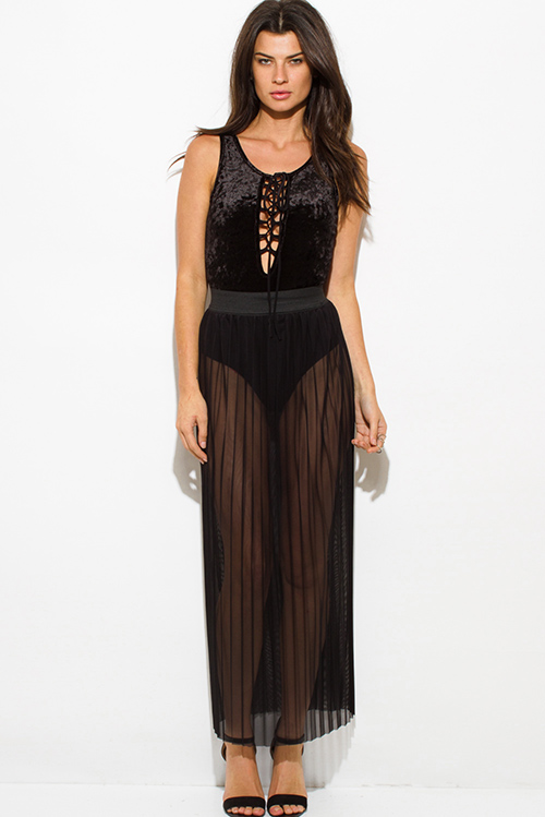 Cute cheap black sheer mesh tulle banded pleated evening party maxi skirt