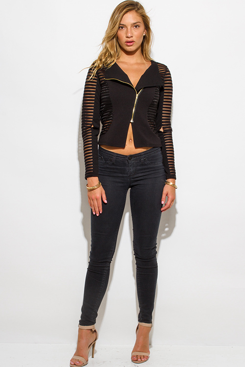 Cute cheap black sheer stripe mesh contrast asymmetrical zip up moto blazer jacket top