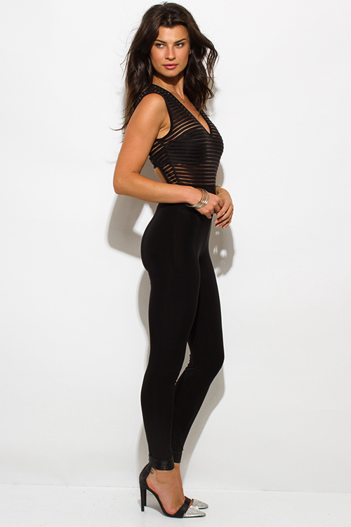 Cute cheap black sheer stripe mesh sleeveless fitted bodycon backless clubbing catsuit jumpsuit