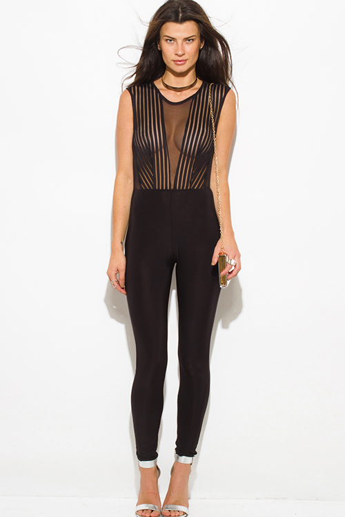 Cute cheap black sheer stripe mesh sleeveless v neck fitted bodycon keyhole cut out back clubbing catsuit jumpsuit