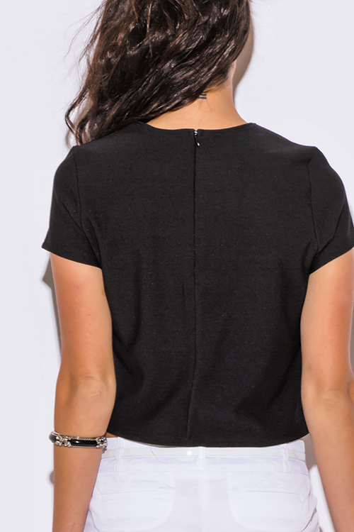 Cute cheap black short sleeve preppy boxy top