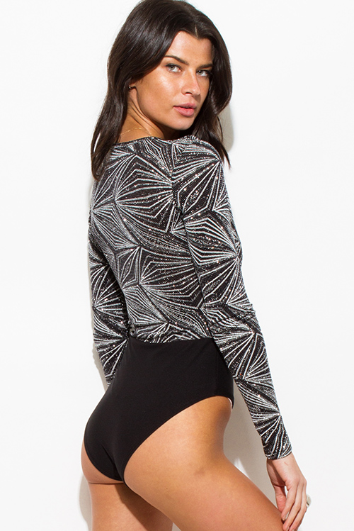 Cute cheap black silver shimmer abstract geometric print long sleeve club bodysuit top