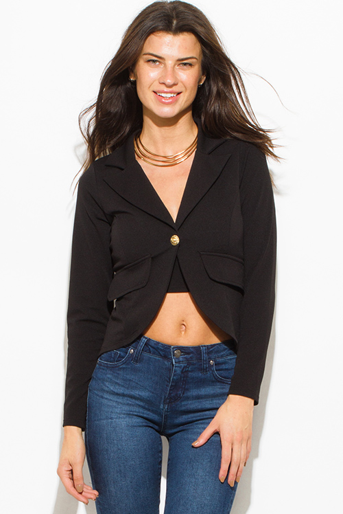 Cute cheap black single golden button long sleeve faux pockets fitted blazer jacket top