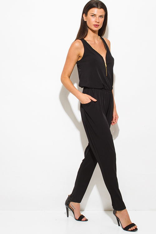 Cute cheap black sleeveless deep v neck golden zipper pocketed harem catsuit jumpsuit