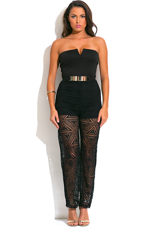 Cute cheap black strapless belted high waist crochet lace v neck evening party jumpsuit