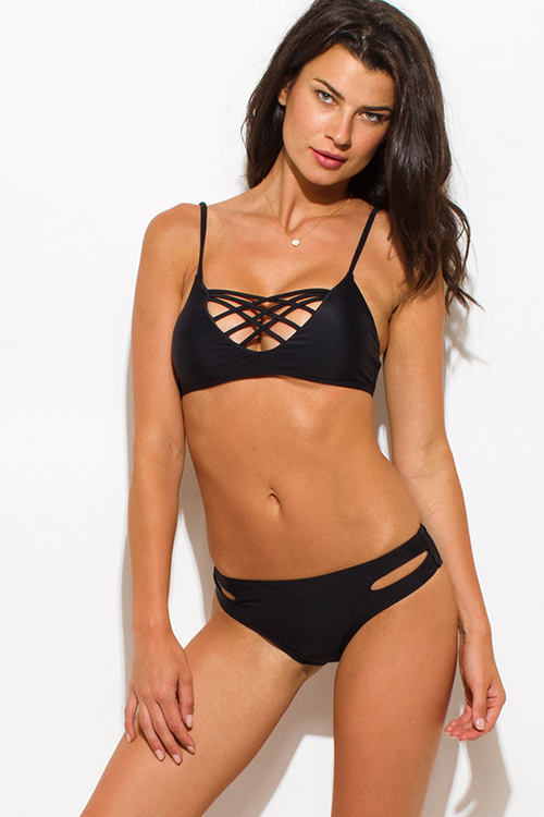 Cute cheap black strappy caged cut out party swimsuit set