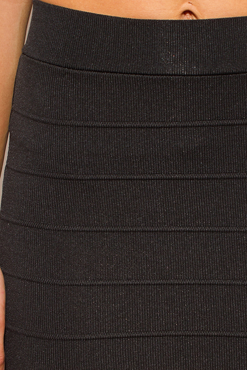 Cute cheap black stretch ribbed knit bandage bodycon fitted club mini skirt