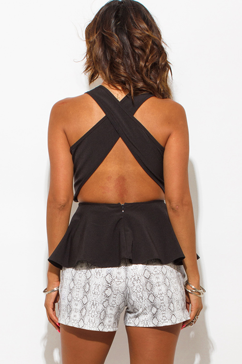 Cute cheap black suiting deep v neck cross back fitted party peplum top