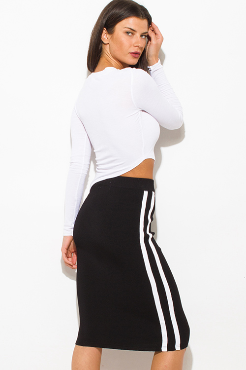 Black Fitted Midi Skirt | Jill Dress