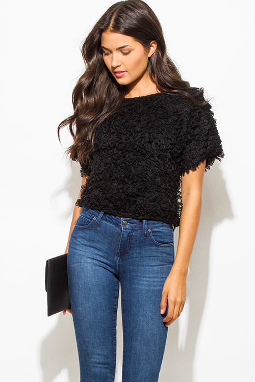 Cute cheap black textured boat neck wide short sleeve sweater knit crop blouse top