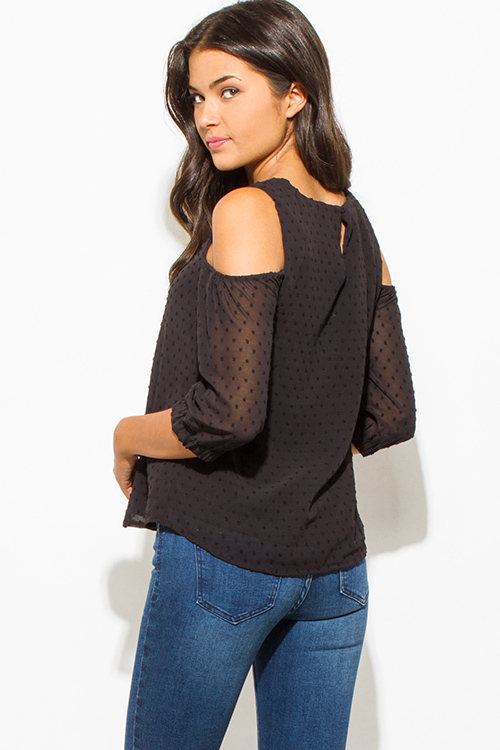 Cute cheap black textured chiffon cold shoulder quarter sleeve keyhole back boho blouse top