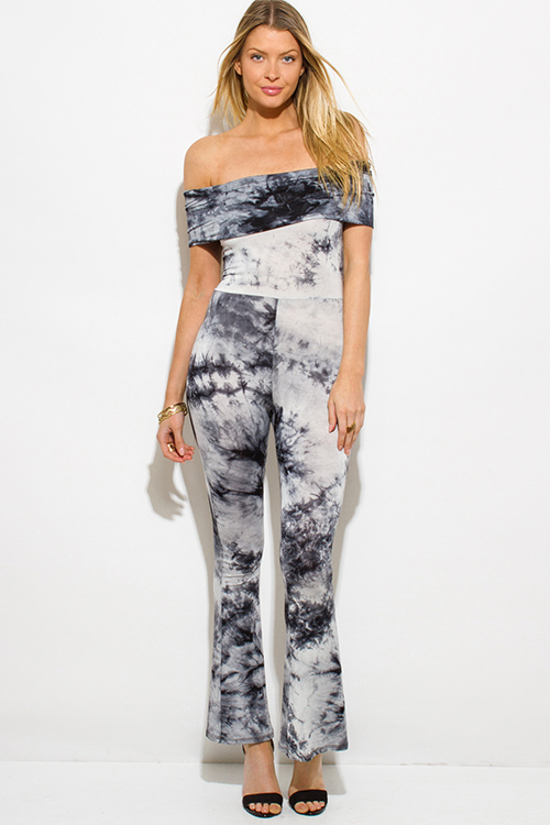 Cute cheap black tie dye boho off shoulder flare leg clubbing catsuit jumpsuit