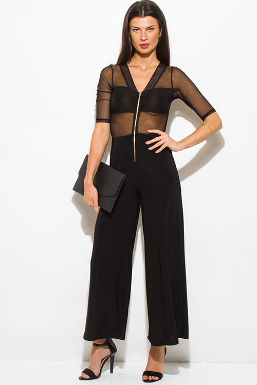 Cute cheap black v neck sheer mesh contrast half sleeve golden zipper wide leg evening party jumpsuit