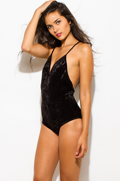 Cute cheap black velvet v neck sweetheart twist strap criss cross backless bodysuit top