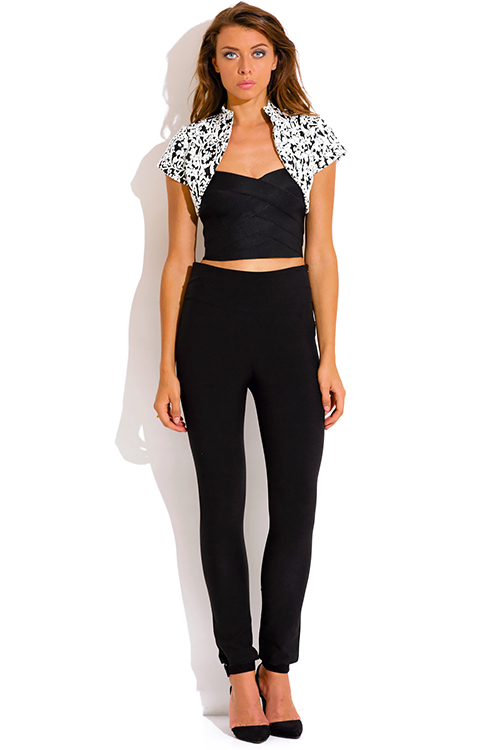 Cute cheap black and white baroque print bolero blazer crop top