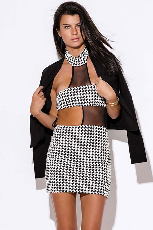 Cute cheap black white houndstooth print cut out high neck mesh inset fitted bodycon clubbing mini dress