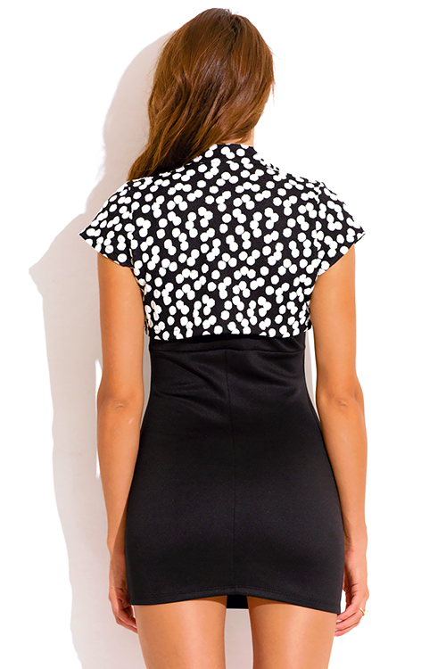 Cute cheap black and white polka dot print bolero blazer crop top