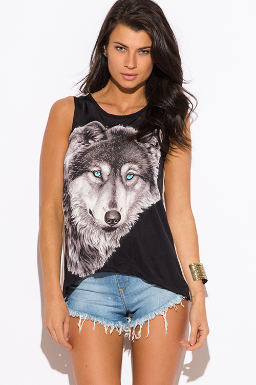 Cute cheap black wolf graphic print muscle tank top