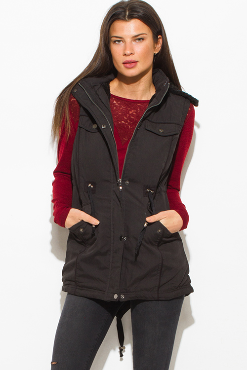 Cute cheap black zip up buttoned faux fur lined pocketed hooded drawstring puffer cargo trench vest