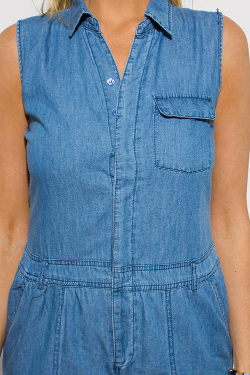 Cute cheap blue chambray sleeveless button up pocketed utilitarian jumpsuit