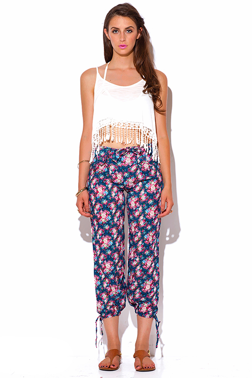 Shop blue floral print bow tie ankle pants