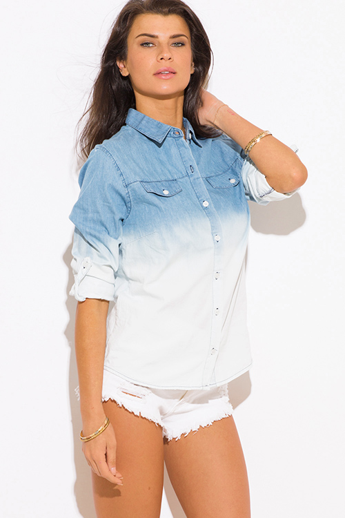 Cute cheap blue ombre washed denim blouse top