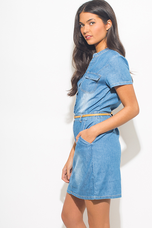 Shop blue washed chambray short sleeve pocketed belted for Belted chambray shirt dress