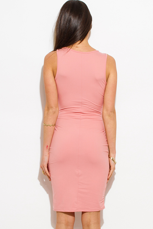 Cute cheap blush pink cut out criss cross caged front clubbing midi dress
