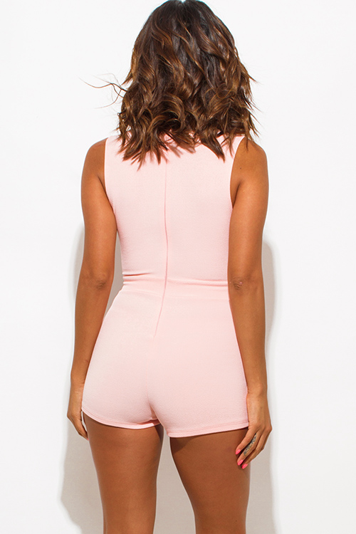 Cute cheap blush pink deep v neck laceup sleeveless fitted bodycon clubbing romper jumpsuit