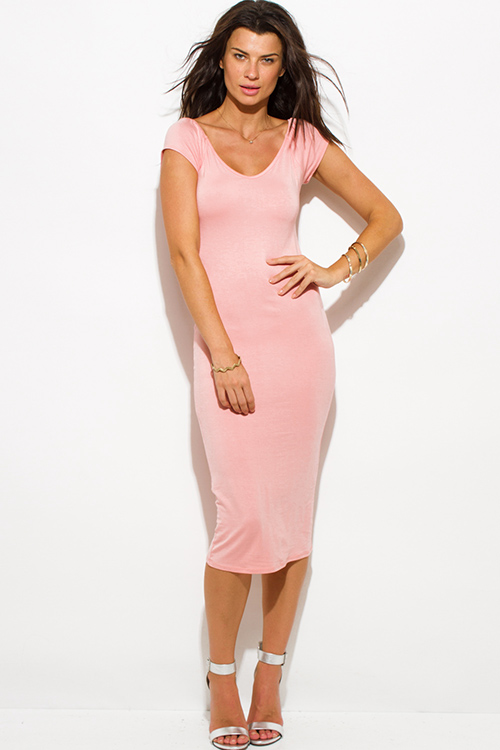 Cute cheap blush pink jersey cap sleeve off shoulder bodycon fitted midi dress