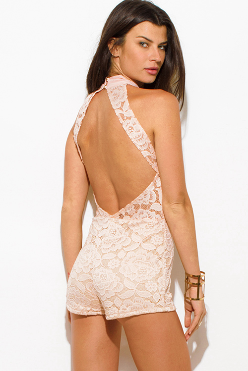 Cute cheap blush pink lace overlay high neck bodycon fitted cut out backless romper playsuit jumpsuit