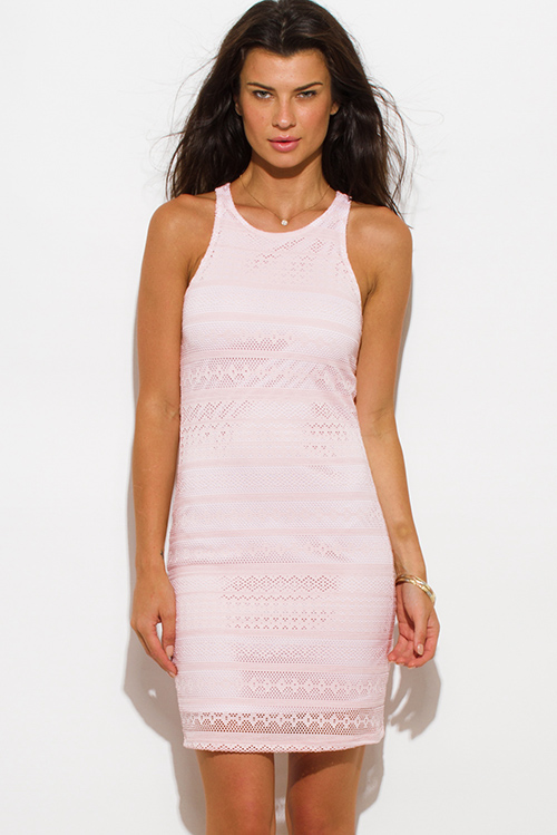Cute cheap blush pink lace overlay racerback bodycon fitted club mini dress