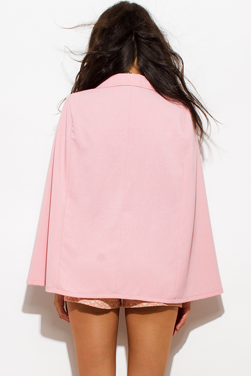 Cute cheap blush pink military button cape jacket suiting blazer top