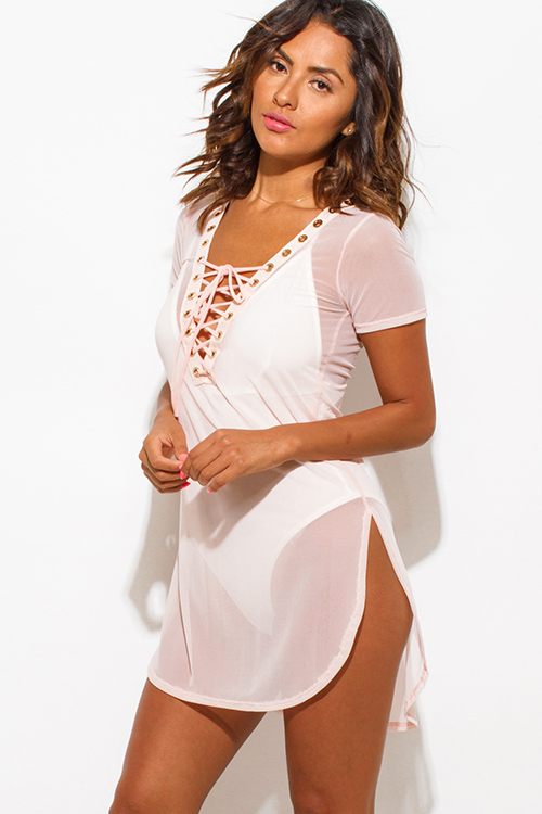 Cute cheap blush pink sheer mesh short sleeve deep v neck laceup beach cover up tunic top