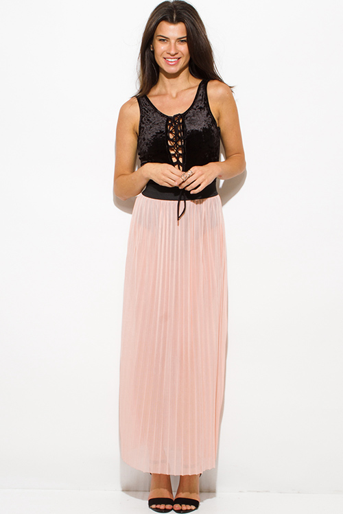 Cute cheap blush pink sheer mesh tulle banded pleated evening party maxi skirt