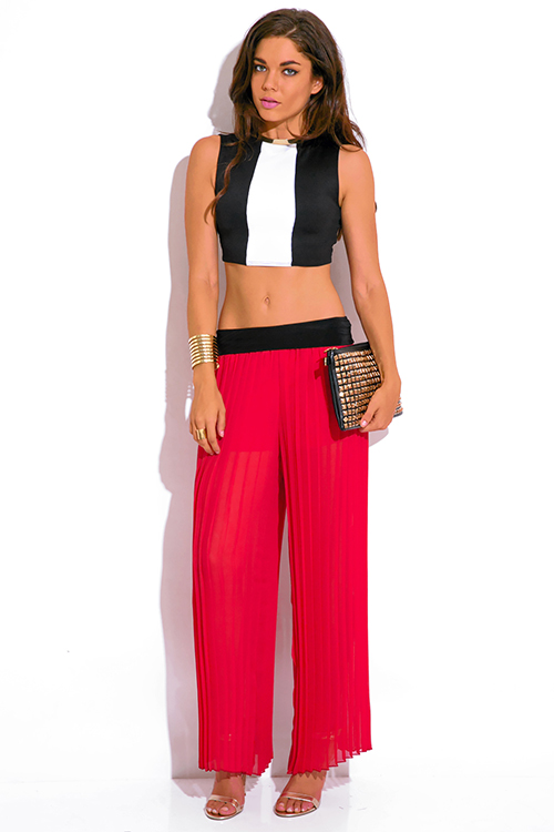 Cute cheap red pleated chiffon wide leg palazzo pants
