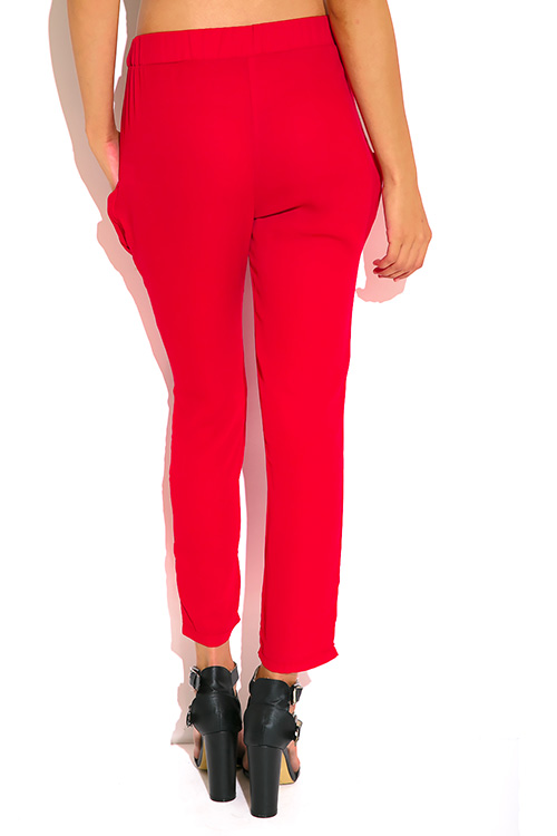 Cute cheap deep red pocketed tie front silky satin harem pants