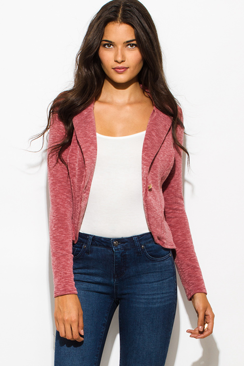 Cute cheap brick red ribbed textured single button fitted blazer jacket top