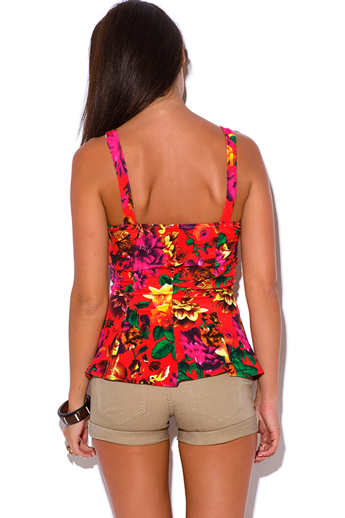 Cute cheap  red and multicolor floral print peplum party top