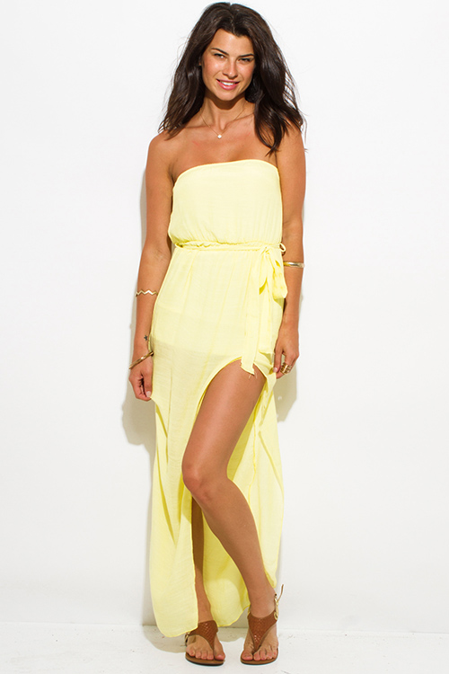Cute cheap bright yellow rayon gauze strapless front high slit waist tie party maxi sun dress
