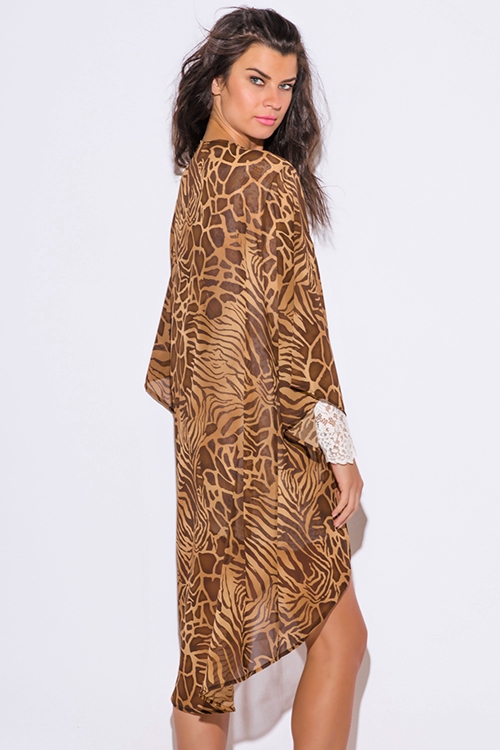 Cute cheap brown abstract animal print semi sheer chiffon boho kimono jacket