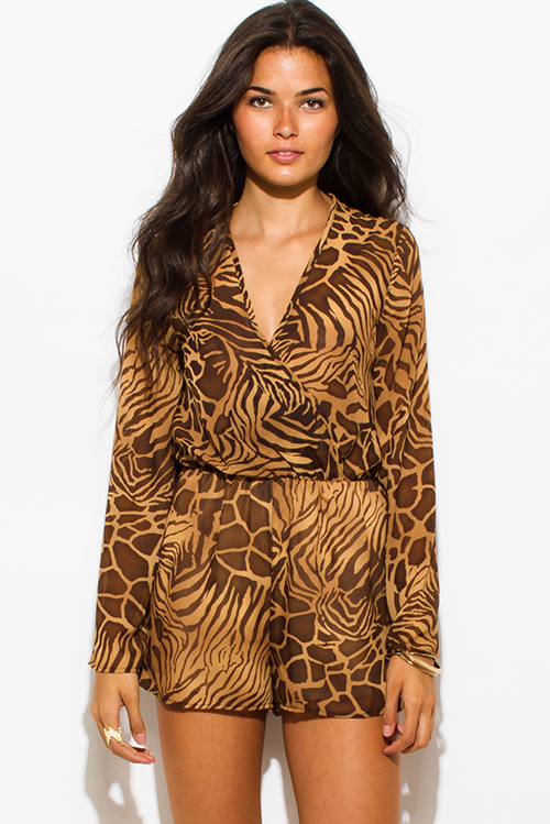 Cute cheap brown abstract animal print semi sheer chiffon long bell sleeve boho romper playsuit jumpsuit