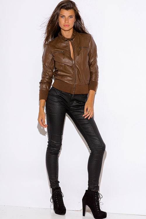 Cute cheap brown faux zipper trim leather ribbed bomber moto jacket