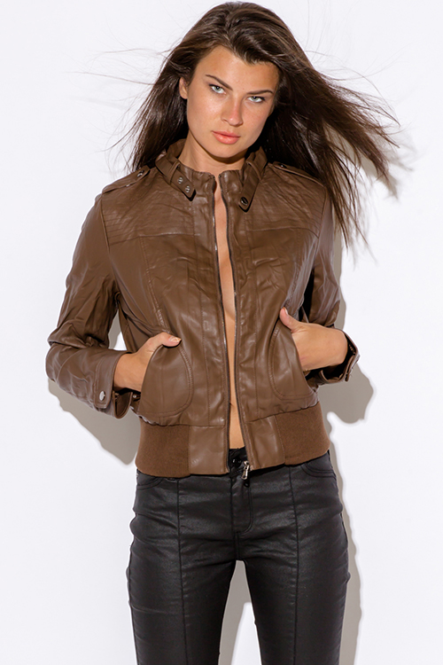 30 - Cute cheap gray faux leather ribbed zip up biker moto jacket - brown faux