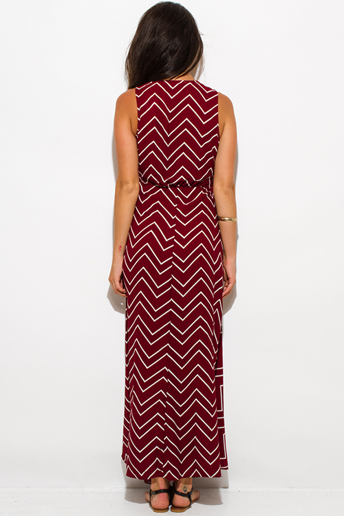 Cute cheap burgundy red chevron stripe print sleeveless high slit wrap evening party maxi sun dress