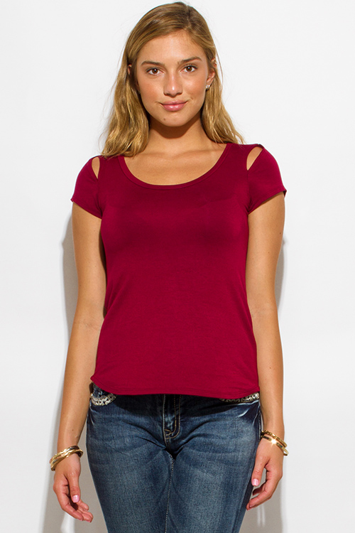 Cute cheap burgundy red cut out shoulder scoop neck short sleeve tee shirt top