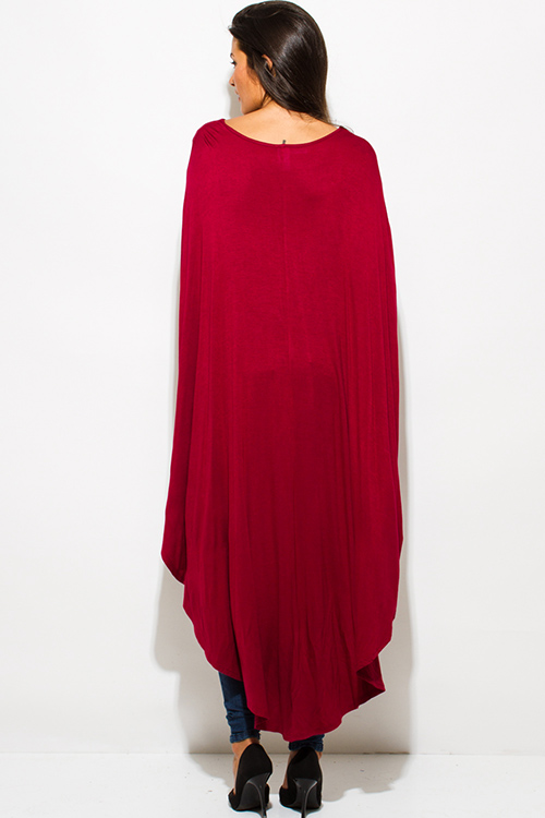 Cute cheap burgundy red high low hem boat neck long sleeve knit poncho tunic top