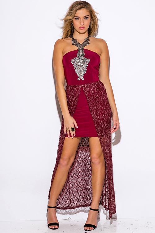 Cute cheap burgundy red metallic lace high low slit fitted formal evening cocktail party dress